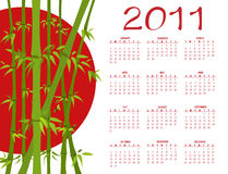 Calendar for 2011. Vector Illustration of asian style design Calendar for 2011 Stock Photos