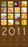 Calendar for 2011. Vector Illustration of colorful style design Calendar for 2011 Royalty Free Stock Photos
