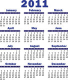 Calendar for 2011. Blue calendar for 2011 royalty free illustration