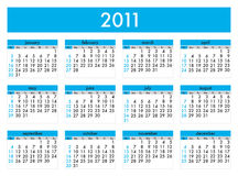 Calendar 2011. Calendar for 2011 on a white background. Starts sunday Royalty Free Stock Photography