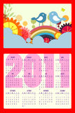 Calendar for 2011. Vector Illustration of colorful style design Calendar for 2011 Stock Photo