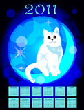 Calendar 2011. With white cat Stock Photography