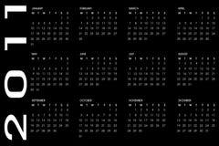 Calendar 2011. 2011 calendar on black background Royalty Free Stock Photo