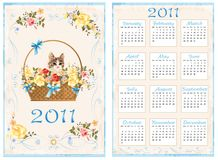 Calendar 2011. Vintage pocket calendar 2011 with cat sitting in the basket.  70 x105 mm Royalty Free Stock Images