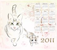 Calendar 2011. With cat and  kitten Royalty Free Stock Image