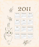 Calendar 2011. With cat and  kittens Royalty Free Stock Photography