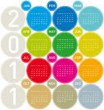 Calendar 2011. Colorful Calendar for year 2011 in a circles theme, in format. Week starts on Sunday stock illustration