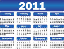 Calendar for 2011. Vector calendar for 2011 blue Stock Photo