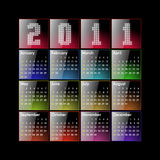Calendar 2011. Glossy calendar 2011 in US format - week starts Sunday vector illustration