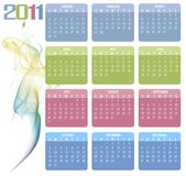 Calendar 2011. A colorfull 2011 calendar white smoke shape Stock Photos
