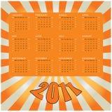 Calendar 2011. Orange calendar design for 2011 Stock Photos