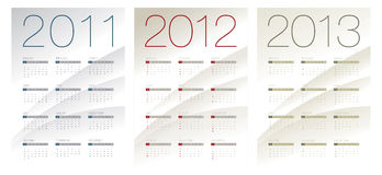 Calendar for 2011, 2012 and 2013. This is a calendar for 2011, 2012 and 2013 on a white background with blue, red and green shades. Starts sunday. Helvetica & royalty free illustration