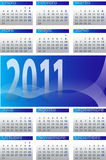 Calendar 2011-6. Vector, illustration calendar 2011, in blue tones Stock Photography