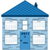 Calendar 2011 in a blue house. January to April months inside the windows. Isolated on white Royalty Free Stock Photography