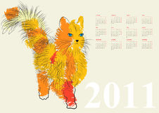 Calendar for 2011 with cat Royalty Free Stock Image