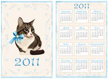 Calendar 2011 with cat. Vintage pocket calendar 2011 with cat Stock Photos