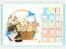 Calendar 2011 with cat. And roses Royalty Free Stock Photo