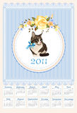 Calendar 2011 with cat. Folk calendar 2011 with cat  and roses Royalty Free Stock Photo