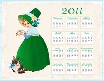 Calendar 2011 with cat and girl. Vintage  style  calendar 2011 with cat and girl Stock Photo