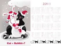 Calendar 2011 cat&rabbit. Double-sided calendar 2011, vector illustration stock illustration