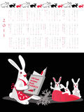 Calendar 2011 , family values. Double-sided calendar  2011,  vector illustration Royalty Free Stock Images