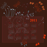 Calendar for 2011 with flowers. Universal template for greeting card, web page, background Stock Images