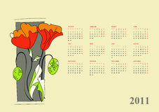 Calendar for 2011 with flowers Royalty Free Stock Photos