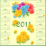 Calendar 2011 with flowers. Calendar 2011 full year decorated with colorful flowers Stock Image