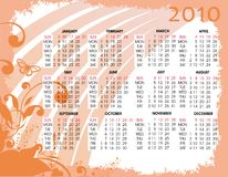 Calendar for 2011 with flowers Royalty Free Stock Images