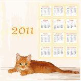 Calendar 2011 with lying ginger kitten. Hand drawn calendar 2011 with lying ginger kitten Stock Photos