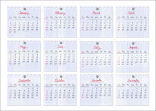 Calendar 2011. Notepad sheets. Calendar for year 2011 with each month drawn on checked notepad sheets. Vector illustration Stock Image