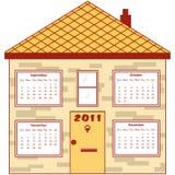 Calendar 2011 in an orange house. September to December months inside the windows. Isolated on white Stock Illustration