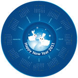 Calendar 2011 - Rabbit. Idea of design of a Plate with circular calendar for 2011. White rabbits in the center. Happy New Year Stock Image