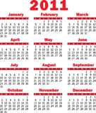 Calendar 2011 red Royalty Free Stock Image