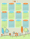 Calendar for 2011 - Retro nature. Everything grouped for easy use Stock Photography