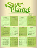 Calendar for 2011 - Save the Planet. Everything grouped for easy use royalty free illustration