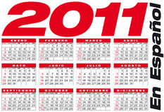 Calendar 2011, in Spanish Stock Images