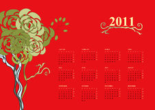 Calendar for 2011 with tree Royalty Free Stock Photo