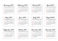 Calendar 2011 (Vector) Royalty Free Stock Photos