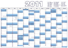 Calendar 2011 (Vector). Calendar 2011 in German all 12 Months, includes all German official holidays,  vector version available Royalty Free Stock Image