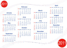 Calendar 2011 (Vector). Calendar 2011 in English, week starts with Sunday (vector version available stock illustration