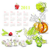 Calendar for 2011 with vegetable. Universal template for greeting card, web page, background Royalty Free Stock Photo