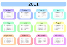 Calendar for 2011. Week starts on Monday. Stock Images