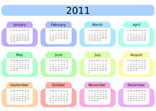 Calendar for 2011. Week starts on Sunday. Stock Image