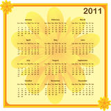Calendar 2011 year. Calendar 2011 full year. January through to December months with a subtle flower background and borders Stock Illustration