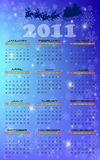 Calendar for 2011 year. With snowflakes and flying santa Royalty Free Stock Images