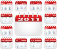 Calendar 2011 year. Over white illustration Royalty Free Stock Image