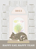 Calendar 2011, year of cat. Vector illustration Royalty Free Stock Images