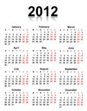Calendar 2012. Calendar for 2012 year on white background with red and black letters Royalty Free Stock Image