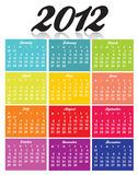 Calendar 2012. Calendar for 2012 year on white background with red and black letters Royalty Free Stock Photos